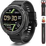 IOWODO X5 Smartwatch, Reloj Inteligent Hombre - Impermeable IP68   Esfera de Reloj de DIY   Tiempo   Caloría   Pulsometro   Sueño   9 Deportes, Smartwatch Hombre para Android e iOS (2 Correas)