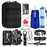 TOUROAM Emergency Survival Kit|Tactical Admin Pouch,Water Filter Straw,Foldable Water Bag,Mylar Blanket,5 In 1 Bracelet,SOS Multitools,Fire Starter